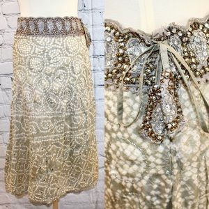 Sage Jewelry silver beaded maxi skirt M/L